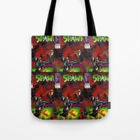 spawn Tote Bags featuring Spawn 1 cover by Mr D's Abstract Adventures