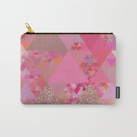 Triangles in glittering pink- glitter triangle pattern Carry-All Pouch