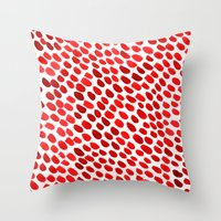 pomegranate Throw Pillows featuring Pomegranate by Hye Jin Chung