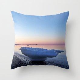 Icebergs on the Beach Throw Pillow