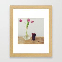 tulips in a vase Framed Art Print