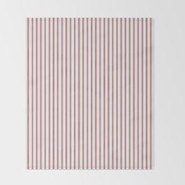 Vintage New England Shaker Barn Red Milk Paint Mattress Ticking Vertical Narrow Striped Throw Blanket