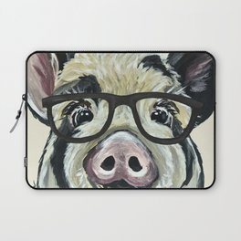 Pig with Glasses, Cute Farm Art Laptop Sleeve