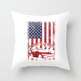 Car Racing Automobile Automotive Racers Gift Sports Car USA Flag Throw Pillow