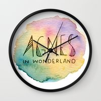 agnes cecile Wall Clocks featuring Agnes in Wonderland by Agnes in Wonderland
