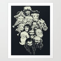 manga Art Prints featuring Manga Dwarves by artistjerrybennett