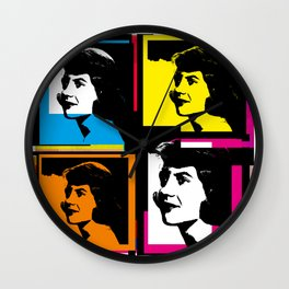 SYVIA PLATH (POP-ART STYLE 4-UP COLLAGE) Wall Clock