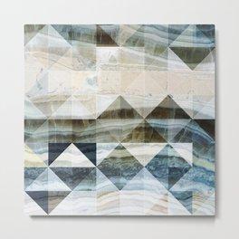 Geo Marble - Natural and Blue #buyart #marble Metal Print