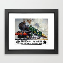 Vintage Travel Poster - Speed To The West Framed Art Print