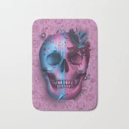 skull art decor pink Bath Mat