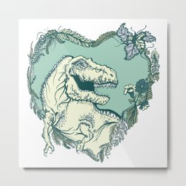 T-Rex Heart - Green & Blue Metal Print