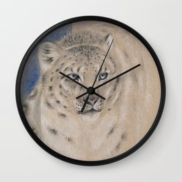Snow Leopard Ghost Graphite Colored Pencil Drawing Wall Clock