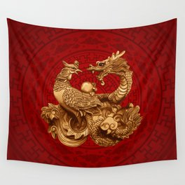 Phoenix and Dragon - on red Wall Tapestry