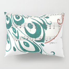 Peacock (Peacock and Cherry Blossoms on Sheet Music) Pillow Sham