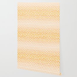 Honey Gold Ombre Dots - White Wallpaper