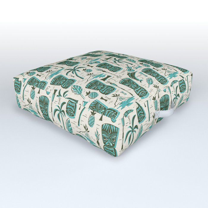 Tropical Tiki - Cream & Aqua Outdoor Floor Cushion