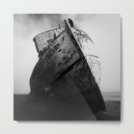 Point Reyes Shipwreck, Dramatic Black and White Art Print Metal Print