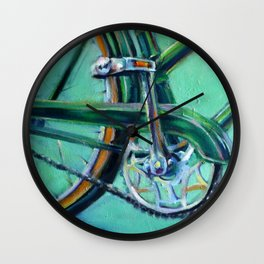 Green Bicycle Wall Clock