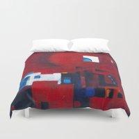 ballon Duvet Covers featuring Red ballon by Nathalie Gribinski