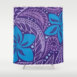 Circular Polynesian Hawaiian Blue Purple Floral Tattoo Shower Curtain