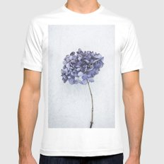 Dried Blue Hydrangea White MEDIUM Mens Fitted Tee