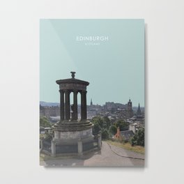Edinburgh Cityscape Travel Artwork Metal Print