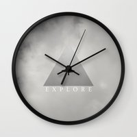 explore Wall Clocks featuring Explore by Galaxy Eyes