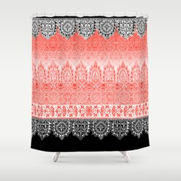 crochet lace in red Shower Curtain
