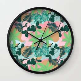 Modern Pink Mint Tropical Foliage Creative design Wall Clock
