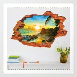 Sunset Beach in wall broken Art Print