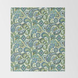 Blue and Green Paisley Throw Blanket