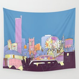 Manchester Skyline Opera House Hilton Hotel Railway City Town Hall England GB UK Wall Tapestry