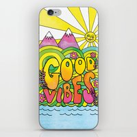 good vibes iPhone & iPod Skins featuring Good Vibes by Rachel Beyer