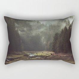 Foggy Forest Creek Rectangular Pillow