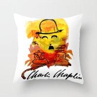 charlie chaplin Throw Pillows featuring Charlie Chaplin by Genco Demirer