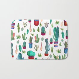 Watercolor Cactus Pattern Bath Mat