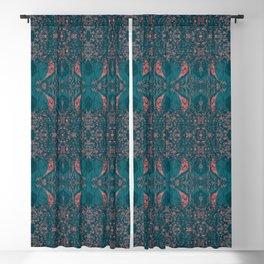 Angel Wings Pattern - Cyprus Green & Coral Pink on Deep Sea Blue by artestreestudio Blackout Curtain