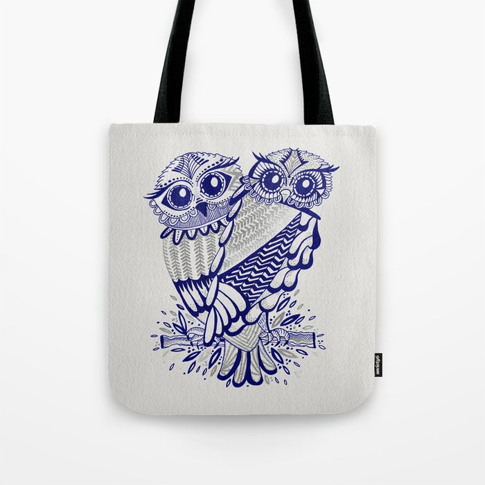 Owls – Silver & Navy Tote Bag
