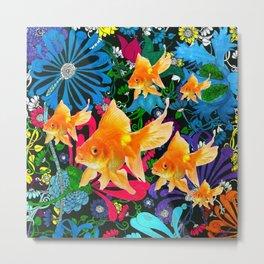 Flowery Goldfish Aquatic Dreamscape Fantasy Metal Print