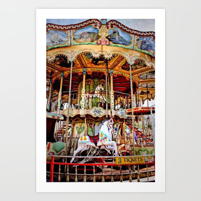 double decker carnival carousel horse art print by eyeshuttertocall