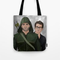 sterek Tote Bags featuring Arrow!Sterek by Finduilas