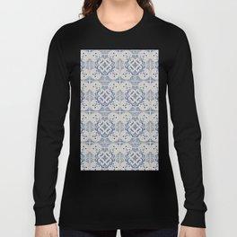 Vintage blue tiles pattern Long Sleeve T-shirt