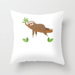 No Hurry No Worry Distressed Cute Sloth Design Throw Pillow