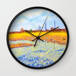 View of John Heinz Nature Reserve Pond Wall Clock