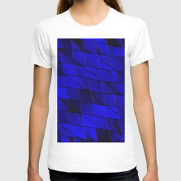 Mirrored gradient shards of curved blue intersecting ribbons and horizontal lines. T-shirt