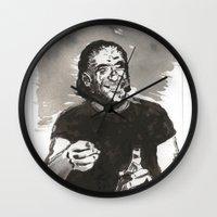 bukowski Wall Clocks featuring Bukowski by Hosho McCreesh