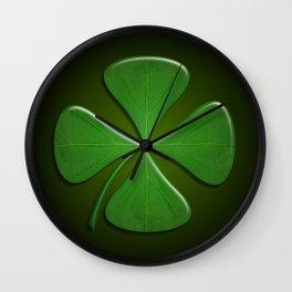Lucky Clover On Dark Green Wall Clock