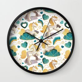 Kicking off some magic // white background white and grey unicorns aqua and mint hearts clouds and rainbows golden lines Wall Clock