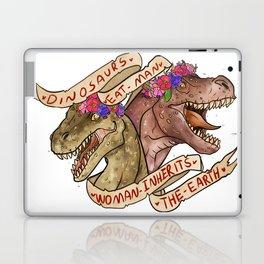 Dinosaur Eat Man. Woman Inherits the Earth Laptop & iPad Skin