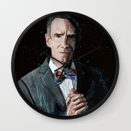 """The Science Guy"" Digital, 2018. Original Digital Watercolor Painting, Bill Nye Wall Clock"